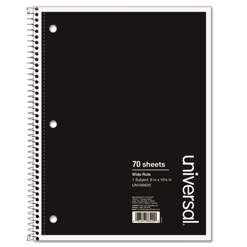 Wirebound Notebook, 1 Subject, Wide/Legal Rule, Black Cover, 10.5 x 8, 70 Sheets. Picture 1