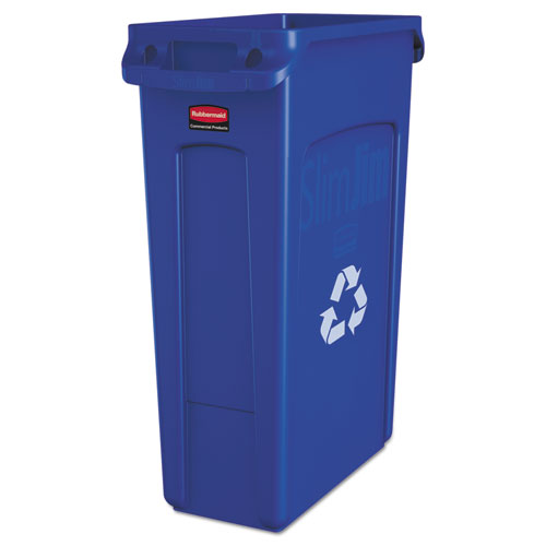 Slim Jim Recycling Container with Venting Channels, Plastic, 23 gal, Blue. The main picture.