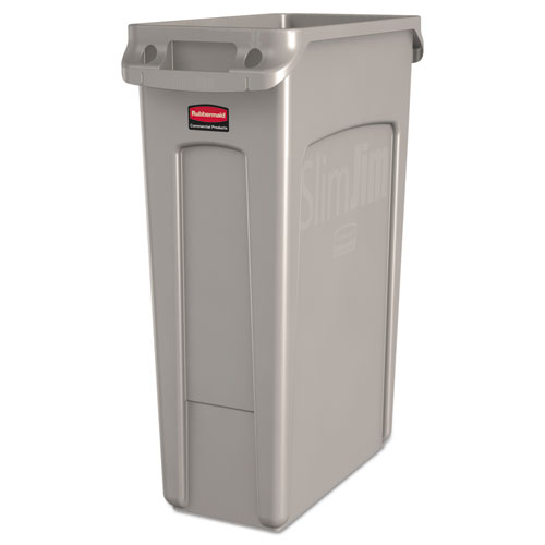 Slim Jim Receptacle with Venting Channels, Rectangular, Plastic, 23 gal, Beige. Picture 1