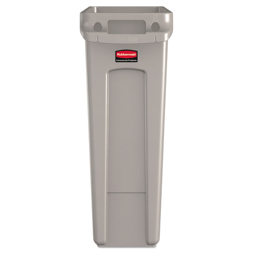 Slim Jim Receptacle with Venting Channels, Rectangular, Plastic, 23 gal, Beige. Picture 2