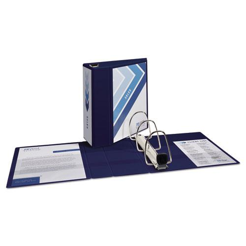 "Heavy-Duty View Binder with DuraHinge and Locking One Touch EZD Rings, 3 Rings, 5"" Capacity, 11 x 8.5, Navy Blue. Picture 8"