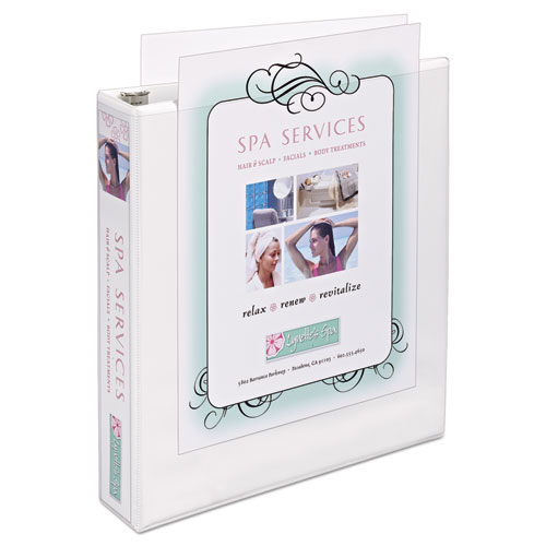 """Heavy-Duty Non Stick View Binder with DuraHinge and Slant Rings, 3 Rings, 1.5"""" Capacity, 11 x 8.5, White, (5404). Picture 2"""