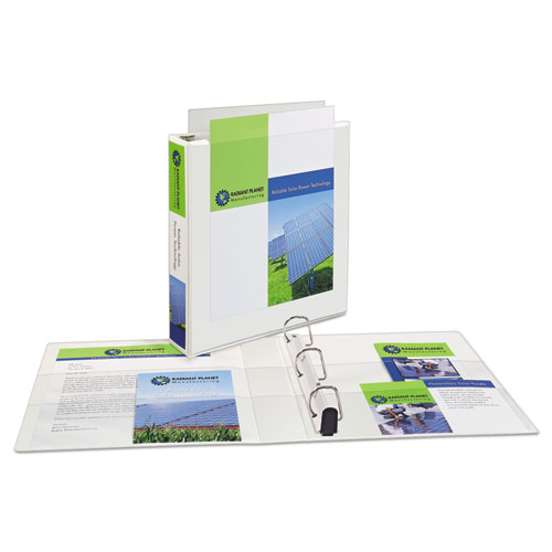 """Heavy-Duty Non Stick View Binder with DuraHinge and Slant Rings, 3 Rings, 1.5"""" Capacity, 11 x 8.5, White, (5404). Picture 3"""