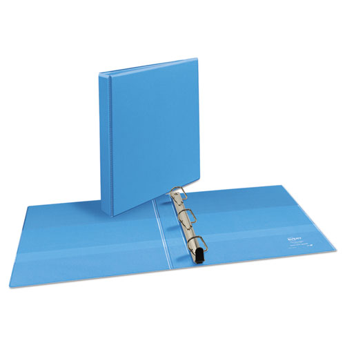 "Heavy-Duty Non Stick View Binder with DuraHinge and Slant Rings, 3 Rings, 1"" Capacity, 11 x 8.5, Light Blue, (5301). Picture 5"