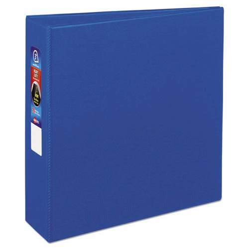 "Heavy-Duty Non-View Binder with DuraHinge and Locking One Touch EZD Rings, 3 Rings, 3"" Capacity, 11 x 8.5, Blue. Picture 6"