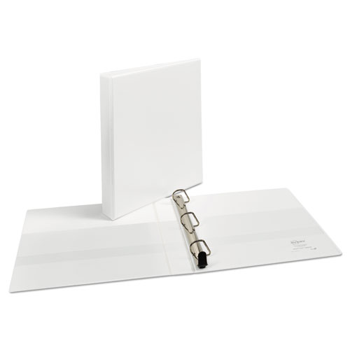"""Heavy-Duty Non Stick View Binder with DuraHinge and Slant Rings, 3 Rings, 1"""" Capacity, 11 x 8.5, White, (5304). Picture 2"""