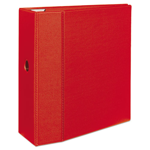 """Heavy-Duty Non-View Binder with DuraHinge, Locking One Touch EZD Rings and Thumb Notch, 3 Rings, 5"""" Capacity, 11 x 8.5, Red. Picture 2"""