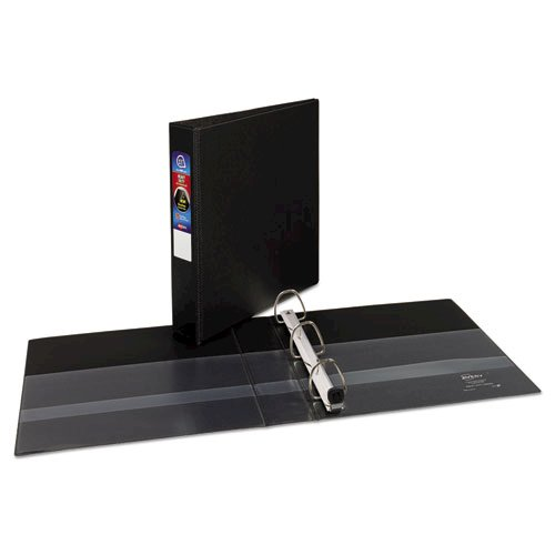 "Heavy-Duty Non-View Binder with DuraHinge and One Touch EZD Rings, 3 Rings, 1.5"" Capacity, 11 x 8.5, Black. Picture 2"