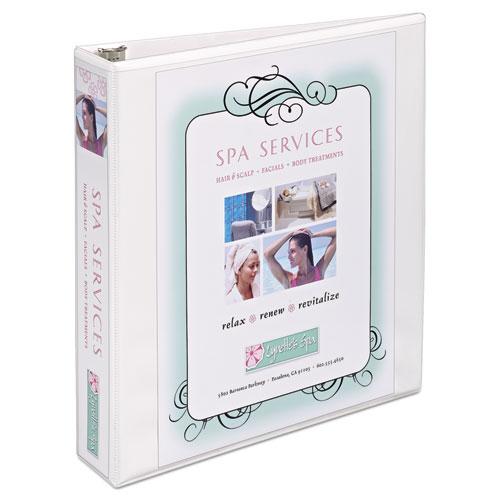 """Heavy-Duty Non Stick View Binder with DuraHinge and Slant Rings, 3 Rings, 1.5"""" Capacity, 11 x 8.5, White, (5404). Picture 1"""