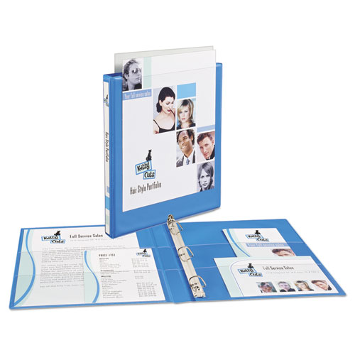 """Heavy-Duty Non Stick View Binder with DuraHinge and Slant Rings, 3 Rings, 0.5"""" Capacity, 11 x 8.5, Light Blue, (5004). Picture 2"""