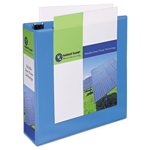 """Heavy-Duty Non Stick View Binder with DuraHinge and Slant Rings, 3 Rings, 3"""" Capacity, 11 x 8.5, Light Blue, (5601). Picture 5"""