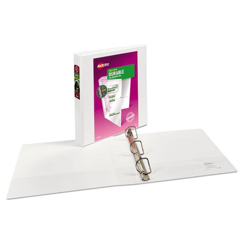 """Durable View Binder with DuraHinge and Slant Rings, 3 Rings, 1.5"""" Capacity, 11 x 8.5, White. Picture 7"""