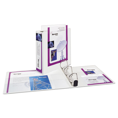 "Heavy-Duty Non Stick View Binder with DuraHinge and Slant Rings, 3 Rings, 3"" Capacity, 11 x 8.5, White, (5604). Picture 2"