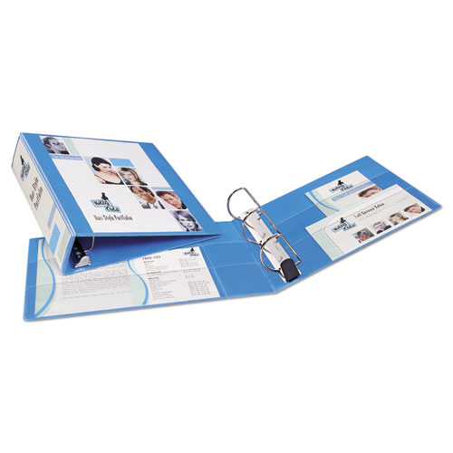 """Heavy-Duty Non Stick View Binder with DuraHinge and Slant Rings, 3 Rings, 3"""" Capacity, 11 x 8.5, Light Blue, (5601). Picture 6"""
