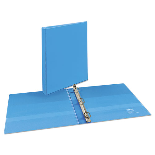 """Heavy-Duty Non Stick View Binder with DuraHinge and Slant Rings, 3 Rings, 0.5"""" Capacity, 11 x 8.5, Light Blue, (5004). Picture 4"""