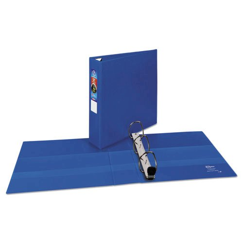 "Heavy-Duty Non-View Binder with DuraHinge and One Touch EZD Rings, 3 Rings, 2"" Capacity, 11 x 8.5, Blue. Picture 2"