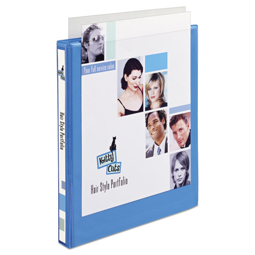 """Heavy-Duty Non Stick View Binder with DuraHinge and Slant Rings, 3 Rings, 0.5"""" Capacity, 11 x 8.5, Light Blue, (5004). Picture 6"""