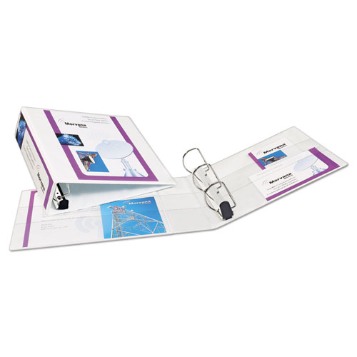 "Heavy-Duty Non Stick View Binder with DuraHinge and Slant Rings, 3 Rings, 3"" Capacity, 11 x 8.5, White, (5604). Picture 7"