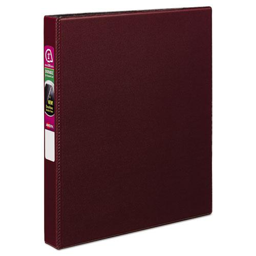 """Durable Non-View Binder with DuraHinge and Slant Rings, 3 Rings, 1"""" Capacity, 11 x 8.5, Burgundy. Picture 1"""