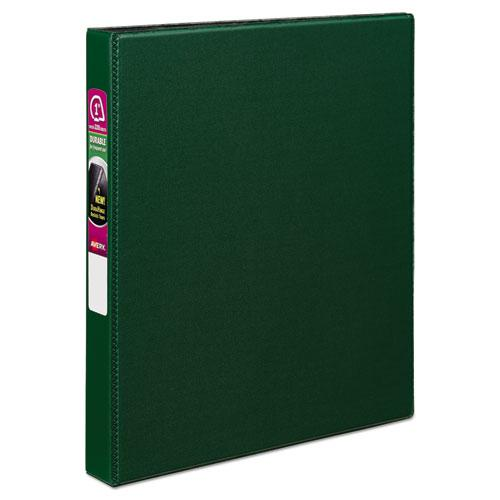 """Durable Non-View Binder with DuraHinge and Slant Rings, 3 Rings, 1"""" Capacity, 11 x 8.5, Green. Picture 1"""
