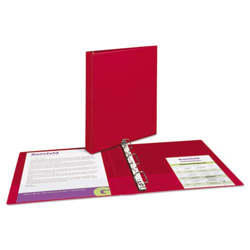 """Durable Non-View Binder with DuraHinge and Slant Rings, 3 Rings, 1"""" Capacity, 11 x 8.5, Red. Picture 6"""
