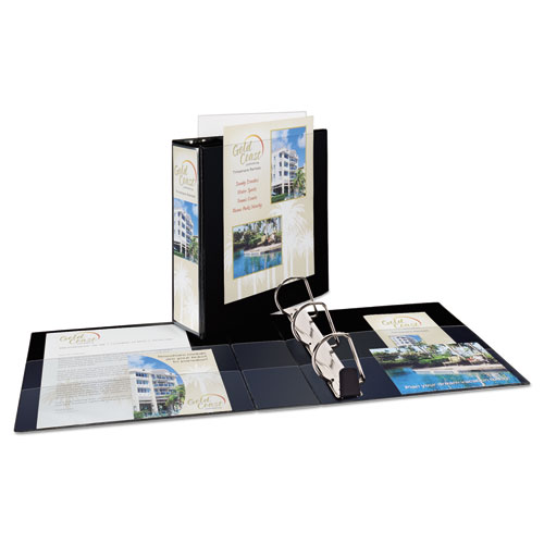 """Heavy-Duty Non Stick View Binder with DuraHinge and Slant Rings, 3 Rings, 3"""" Capacity, 11 x 8.5, Black, (5600). Picture 2"""