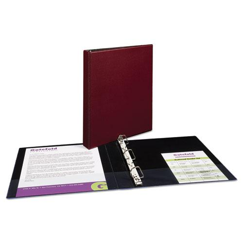 """Durable Non-View Binder with DuraHinge and Slant Rings, 3 Rings, 1"""" Capacity, 11 x 8.5, Burgundy. Picture 3"""