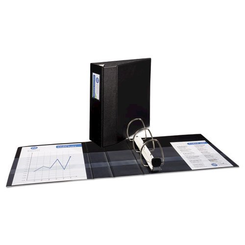 """Heavy-Duty Non-View Binder with DuraHinge, Three Locking One Touch EZD Rings and Spine Label, 4"""" Capacity, 11 x 8.5, Black. Picture 4"""
