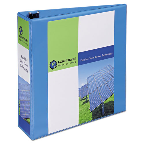 """Heavy-Duty Non Stick View Binder with DuraHinge and Slant Rings, 3 Rings, 3"""" Capacity, 11 x 8.5, Light Blue, (5601). Picture 1"""