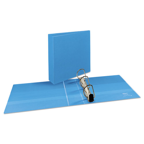 """Heavy-Duty Non Stick View Binder with DuraHinge and Slant Rings, 3 Rings, 3"""" Capacity, 11 x 8.5, Light Blue, (5601). Picture 2"""