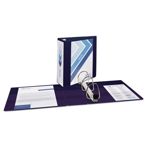 """Heavy-Duty View Binder with DuraHinge and Locking One Touch EZD Rings, 3 Rings, 4"""" Capacity, 11 x 8.5, Navy Blue. Picture 3"""