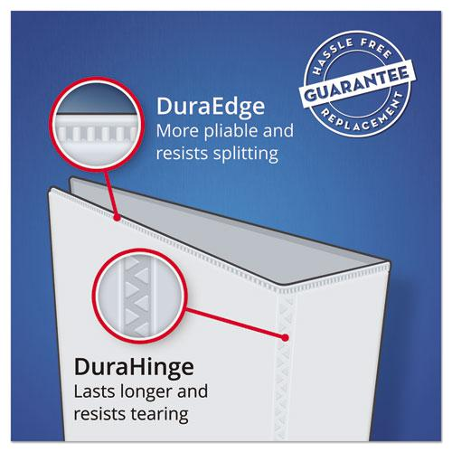 "Heavy-Duty Non Stick View Binder with DuraHinge and Slant Rings, 3 Rings, 1"" Capacity, 11 x 8.5, White, (5304). Picture 4"