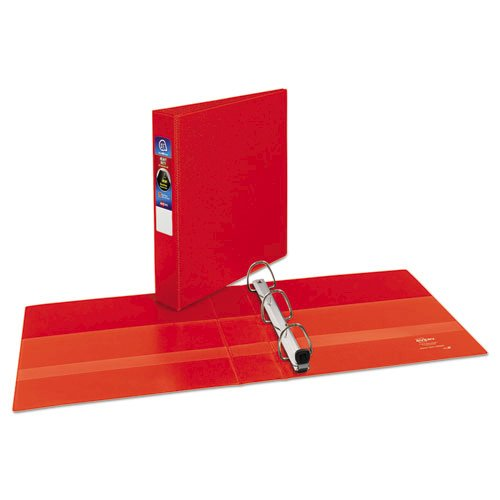 "Heavy-Duty Non-View Binder with DuraHinge and One Touch EZD Rings, 3 Rings, 1.5"" Capacity, 11 x 8.5, Red. Picture 2"