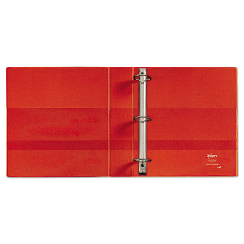 """Heavy-Duty Non-View Binder with DuraHinge, Locking One Touch EZD Rings and Thumb Notch, 3 Rings, 5"""" Capacity, 11 x 8.5, Red. Picture 4"""