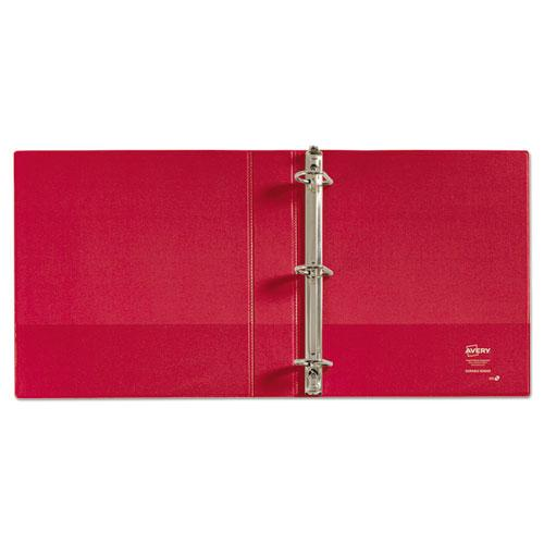 """Durable Non-View Binder with DuraHinge and Slant Rings, 3 Rings, 1.5"""" Capacity, 11 x 8.5, Red. Picture 2"""