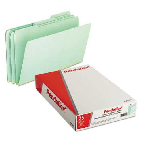 Pressboard Expanding File Folders, 1/3-Cut Tabs, Legal Size, Green, 25/Box. Picture 2