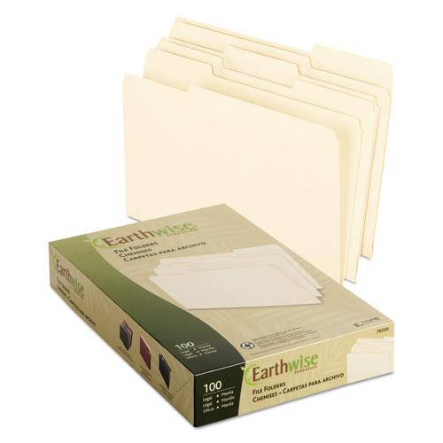 Earthwise by 100% Recycled Manila File Folders, 1/3-Cut Tabs, Legal Size, 100/Box. Picture 2