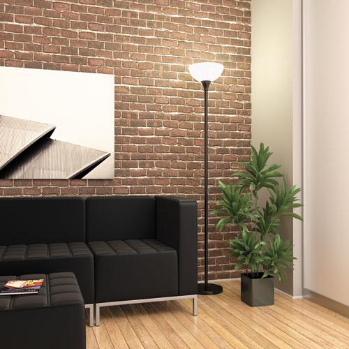 "Floor Lamp, 71"" High, Translucent Plastic Shade, 11.25""w x 11.25""d x 71""h, Matte Black. Picture 2"