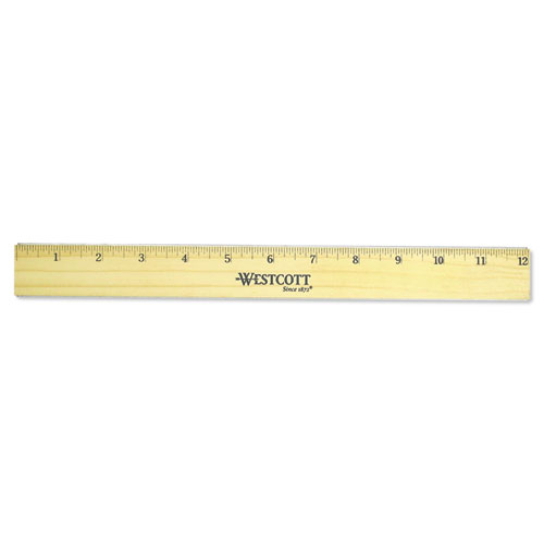 """Flat Wood Ruler w/Two Double Brass Edges, 12"""", Clear Lacquer Finish. Picture 1"""