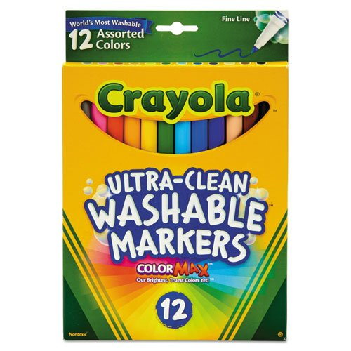 Ultra-Clean Washable Markers, Fine Bullet Tip, Assorted Colors, Dozen. Picture 1