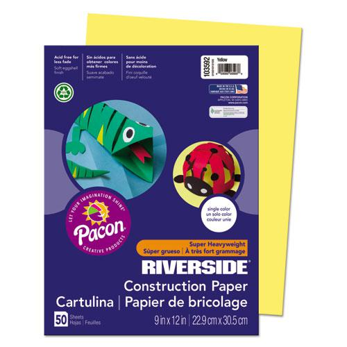 Riverside Construction Paper, 76lb, 9 x 12, Yellow, 50/Pack. Picture 1