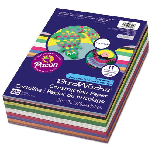 Construction Paper Smart-Stack, 58lb, 9 x 12, Assorted, 300/Pack. Picture 1