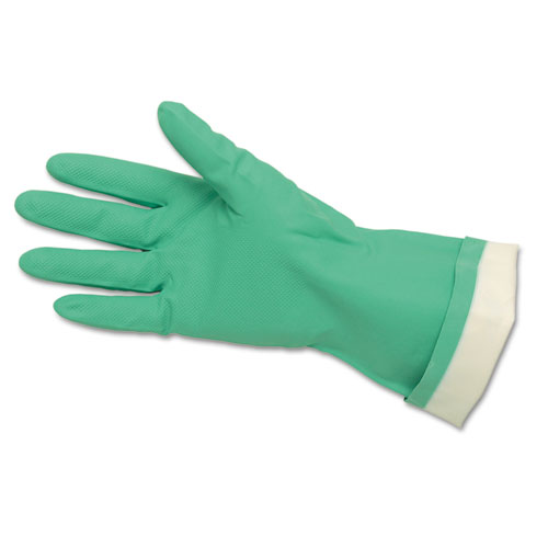 Flock-Lined Nitrile Gloves, One Size, Green, 12 Pairs. Picture 1
