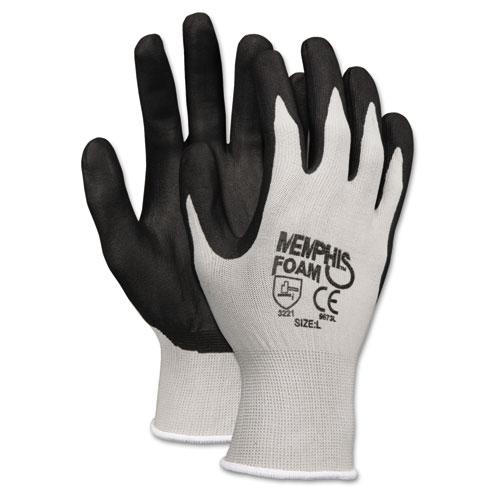 Economy Foam Nitrile Gloves, Medium, Gray/Black, 12 Pairs. Picture 1
