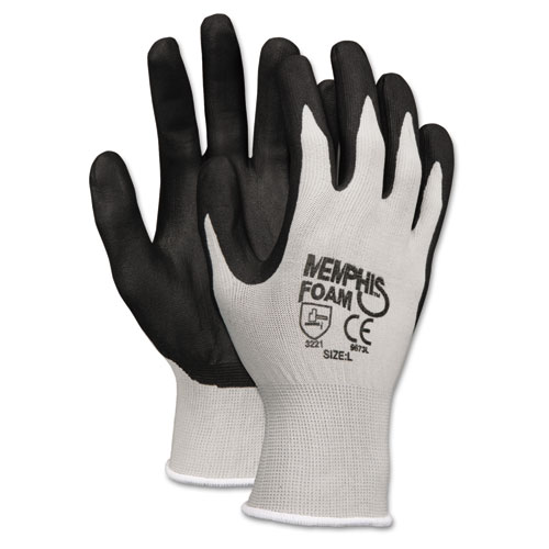 Economy Foam Nitrile Gloves, Small, Gray/Black, 12 Pairs. Picture 1
