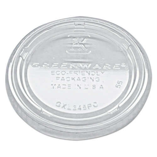 Portion Cup Lids, Fits 3.25-5.5oz Cups, Clear, 2500/Carton. Picture 1