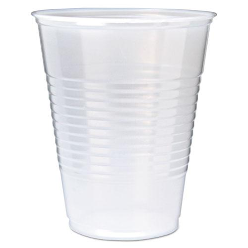 RK Ribbed Cold Drink Cups, 12oz, Translucent, 50/Sleeve, 20 Sleeves/Carton. Picture 1