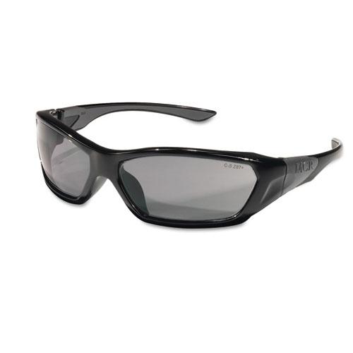 ForceFlex Safety Glasses, Black Frame, Gray Lens. Picture 1
