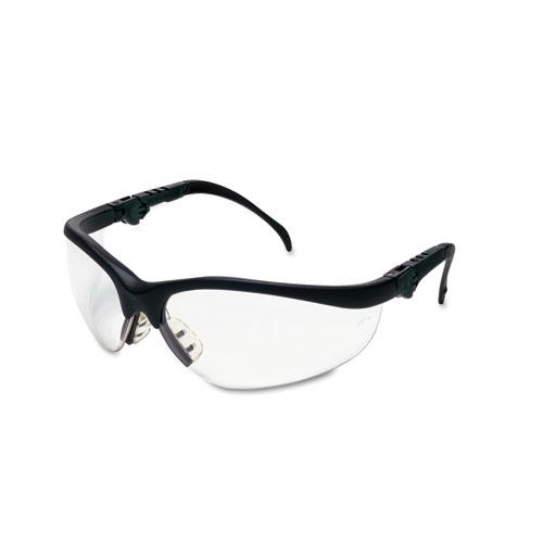 Klondike Plus Safety Glasses, Black Frame, Clear Lens. Picture 1