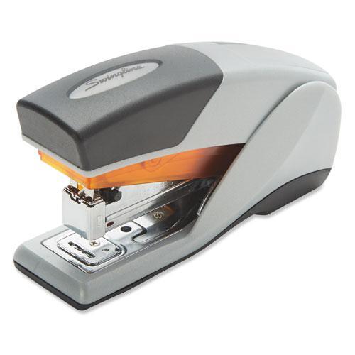 Optima 25 Reduced Effort Compact Stapler, 25-Sheet Capacity, Gray/Orange. Picture 1